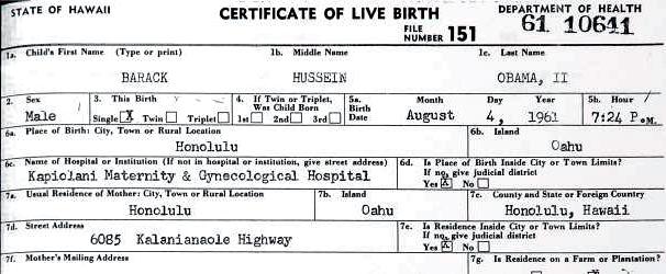 Certificado Obama