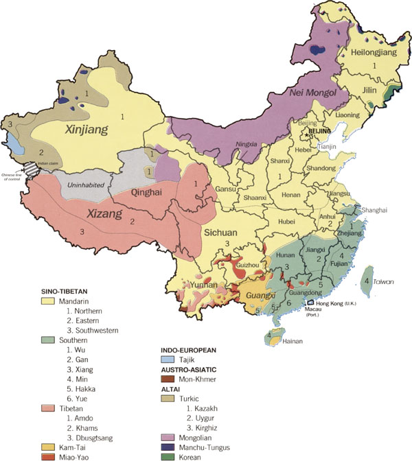 Mapa lingüístico China. Wikipedia.